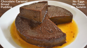 See Eggless Caramel Chocolate Bread Pudding recipe on Food Connections By Madhulika